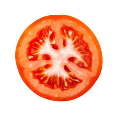 Top view on red tomato slice isolated on white background