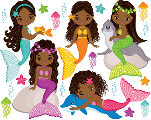 Vector Cute Little Mermaids with Marine Animals. Vector African American Mermaids