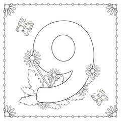 Numeral nine with flowers, leaves and butterflies. Coloring page