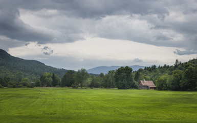Field and Old Barn in the Adirondack Mountains of New York State