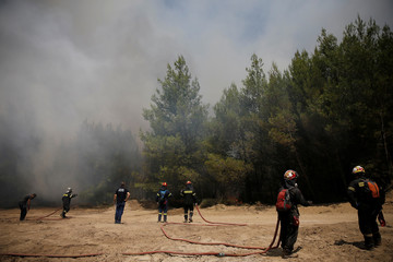 Firefighters operate as a wildfire burns near the village of Kapandriti