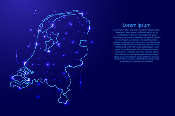 Map Netherlands from the contours network blue, luminous space stars of vector illustration