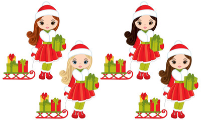 Vector Little Girls with Christmas Gifts and Sledges