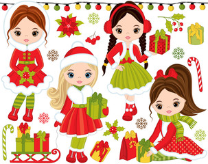 Vector Christmas and New Year Set with Little Girls