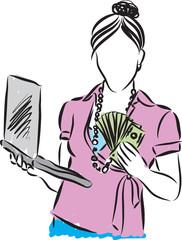 Woman money winner with laptop