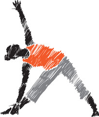woman posture yoga 3 brush illustration