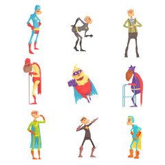 Funny elderly superman cartoon characters in action set of vector Illustrations