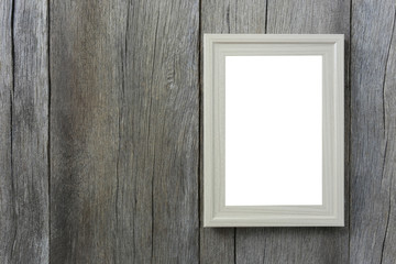 Modern Picture Frame on wooden wall.