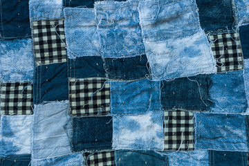 Fabric patchwork background and texture, Thread of old fabric blue tone for background Fototapete