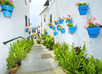 Street of Mijas with flower pots in facades. Costa del Sol. Spain.