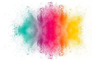 abstract powder splatted on white background,Freeze motion of color powder exploding.