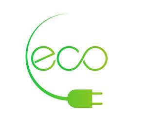 logo eco verde con spina elettricità