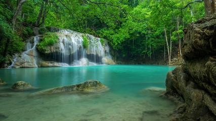 Printed roller blinds Waterfalls Wonderful green waterfall at deep forest, Erawan waterfall located Kanchanaburi Province, Thailand