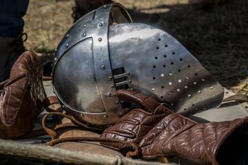 Detail of medieval helmets helms a medieval armor knight