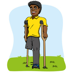 Illustration of African descent mascot, one-legged and crutches. Ideal for medical and educational materials