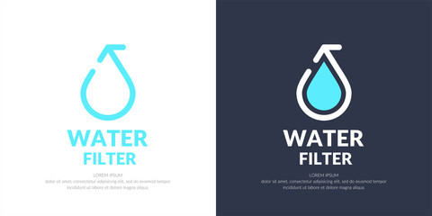 Modern line vector logo of the water drop.