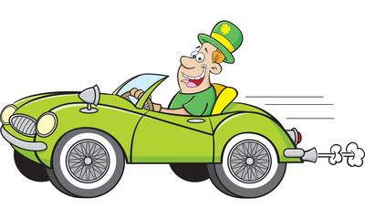 Cartoon illustration of a man wearing a derby and driving a sports car.