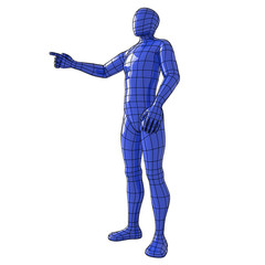 Wireframe human figure standing and pointing