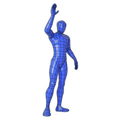 Wireframe human figure greeting somebody capture