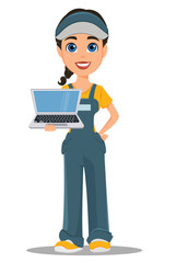 Courier woman holding laptop. Professional fast delivery.