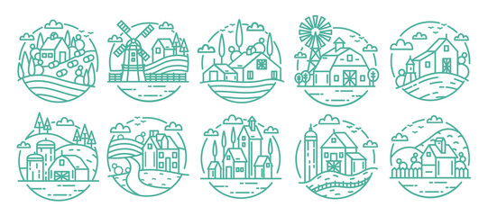 Countryside labels set. Farm various logo collection. Line art monochrome vector illustration.
