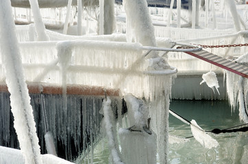 Switzerland Geneva Hard winter on the lake Leman