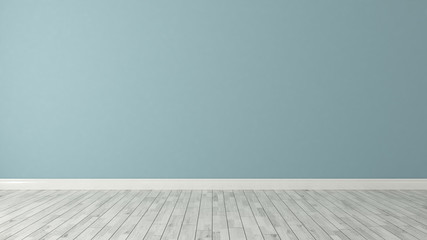 blue wall background with white parquet