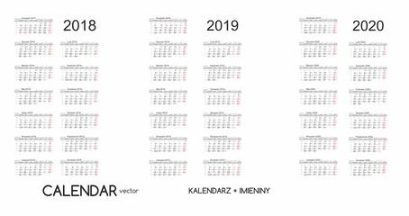 Calendar 2018, 2019, 2020 Kalendarz 2018, 2019, 2020 vector