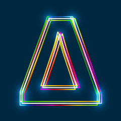 Greek Capital Letter Delta. Multicolor outline font with glowing effect on blue background. Vector EPS10