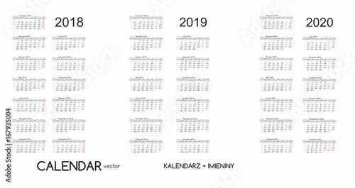 Calendario 2020 Vettoriale Gratis.Calendar 2019 Kalendarz 2019 Vector Immagini E Vettoriali