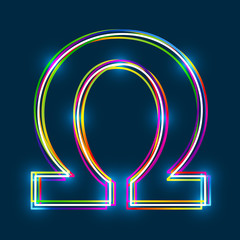 Greek Capital Letter Omega. Multicolor outline font with glowing effect on blue background. Vector EPS10