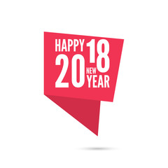Ribbon banner with 2018 Happy new year. for greeting card, flyer, invitation, poster, brochure, banner, calendar, Christmas Meeting events color red