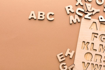 Wooden board with English alphabet letters
