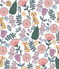 Colorful floral pattern with fox on white background