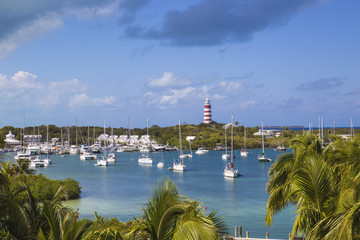 Bahamas, Abaco Islands, Elbow Cay, Hope Town, Elbow Reef Lighthouse - The last kerosene burning manned lighthouse in the world - built by the The British Imperial Lighthouse Service during the 1860's
