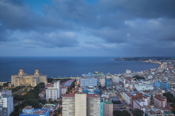 Cuba, Havana, View of Havana looking over Hotel Nacional de Cuba