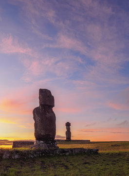 Moais at sunset, Rapa Nui National Park, Easter Island, Chile