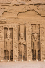 Egypt, Abu Simbel, The small temple -known as Temple of Hathor - dedicated to Nefertari for the worship of the goddess Hathor and adorned with statues of the King and Queen
