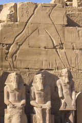 Egypt, Luxor, Karnak Temple, Colossi in Temple of Amun