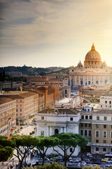 St Peter's Basilica and Via della Conciliazione at sunset, Rome, Italy
