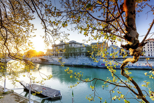 Italy, Rome, law court reflecting on Tevere river