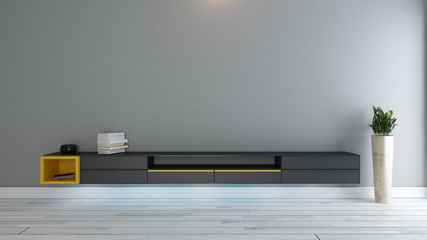 black tv stand with plant