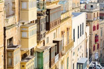 Malta, South Eastern Region, Valletta. Traditional Maltese balconies.