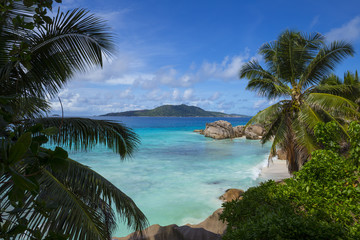 Tropical beach on La Digue, Seychelles