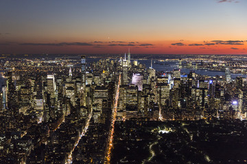 Aerial view over Midtown Manhattan, New York City, USA