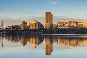 USA, New York, Hudson Valley, Albany, skyline from the Hudson River, morning