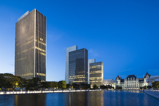 USA, New York, Hudson Valley, Albany, New York State Capitol, Rockefeller Empire State Plaza, legislative buildings, dusk
