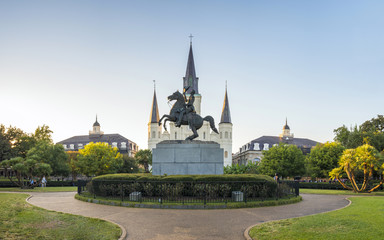 United States, Louisiana, New Orleans, French Quarter. St. Louis Cathedral and statue  of Andrew Jackson on Jackson Square.