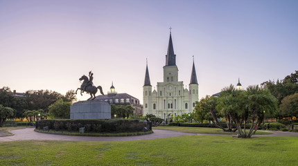 USA, Louisiana, New Orleans, Jackson Square and Saint Louis Cathedral