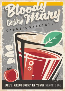 Cocktail bar with glass and Bloody Mary cocktail on old paper texture. Alcoholic drinks vintage promotional design. Retro poster design for cocktail lounge.